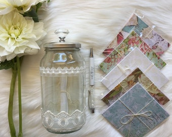 Wedding, Engagement or Christening Keepsake Message Wish Jar (Guest Book Alternative)