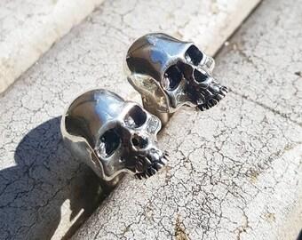 Silver Skull Cufflinks , sterling  ,   Biker , Rock  handmade jewelry men  classic fashion luxury  ,gift for him, Christmas ,wedding