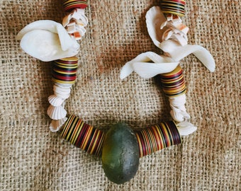 African Glass Trade Bead Necklace with Shells & Vulcanite/Vinyl Disc Heishi Beads