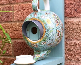 William Morris Teapot Bird House and Feeder