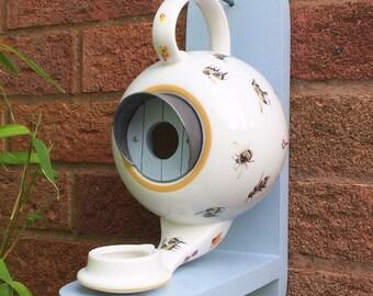 Bees Teapot Bird House and Feeder