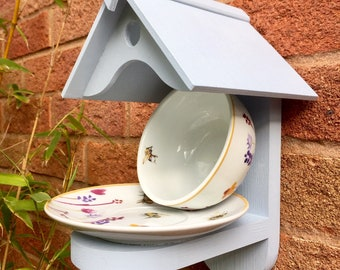 Busy Bee's Cup and Saucer Wall Mounted Bird Feeder
