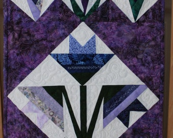 Spring lily, mauve's, blues, paper pieced, buds, one of a kind,