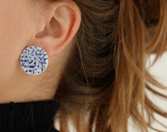 Disc Stud earrings, ceramic jewelry, Large circle disc, Blue and White Porcelain, Ceramics and pottery