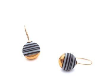 Classic porcelain drop earrings in 18k solid gold - Ceramic and pottery by OeiCeramics, Kintsugi gift