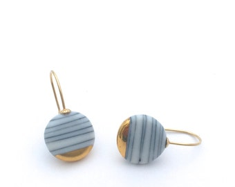 Classic Small Circle Earrings, Porcelain ceramics with 18k Gold, Everyday jewelry