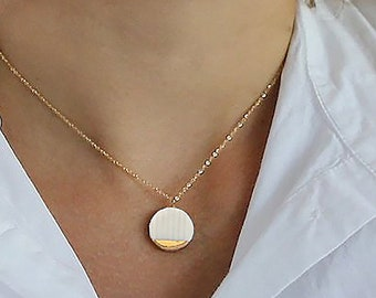 White Porcelain pendant gold necklace, 14k gold filled chain, Pottery and Ceramics, Dainty gold choker