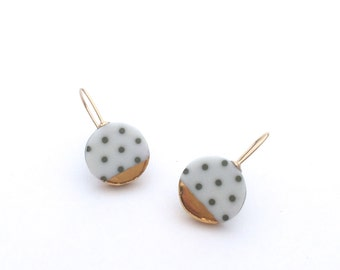 Olive porcelain earrings, ceramic jewelry, gold earrings, Polka Dots, Minimalist jewelry, green dangle earrings, OeiCeramics