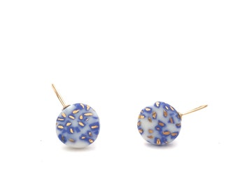 Starry Night - Porcelain earrings in Delft Blue Terrazzo with 18k gold accents
