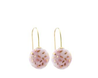 Soft Pink porcelain earrings, Classic Pearl drop dangle