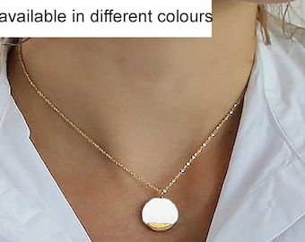 Porcelain pendant necklace with 24k gold available in various color combinations, 5th anniversary gift