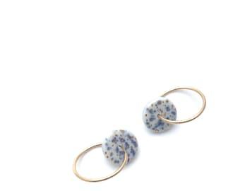 Porcelain hoop earrings, ceramic jewelry, 14k gold filled hoop earrings, statement earrings, minimalist earrings, boho earring