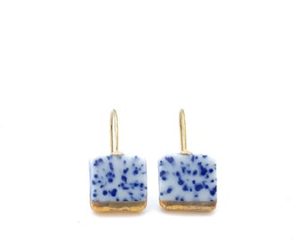 Blue Porcelain square earrings, ceramic jewelry, Delft blue, Slow fashion, 18k solid gold, porzellan schmuck, pottery and ceramic