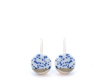 Blue white Porcelain Earrings in Silver