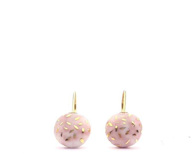 Featured listing image: Soft Pink porcelain earrings, Classic Pearl drop dangle