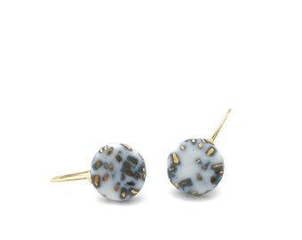 Terrazzo Grey white pottery earrings in gold
