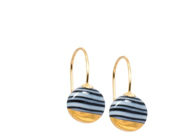 black and white Porcelain earrings, Ceramic jewelry, Small round earrings, 18k gold, Scandinavian modern, black white stripes