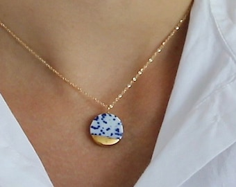 Starry Night, Blue and white porcelain necklace