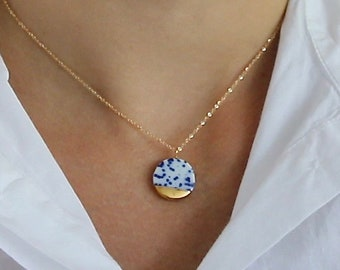 Blue and white porcelain necklace, ceramic jewelry from Delft, 14k Gold filled chain, pottery and ceramic