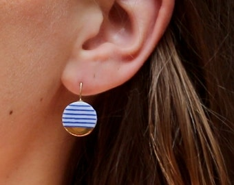 Blue white ceramic earrings, porcelain jewelry, Breton stripes, Nautical style, 18k solid gold, sailor stripes, French fashion, summer beach