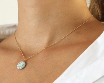 Mint Collarbone porcelain 14k gold fill necklace, ceramics pottery pendant