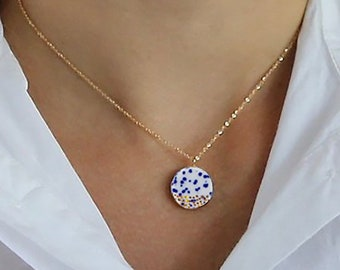 Blue white pottery necklace, Delft porcelain jewelry, 14k gold filled cable choker. ceramics gift for wife, Harry potter gift, Wabi Sabi
