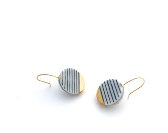 Porcelain Black stripes circle earrings Pottery by OeiCeramics