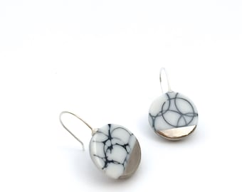 Silver marble earrings, porcelain jewelry, minimalist earrings, silver Ceramic jewelry, porcelain earrings dangle