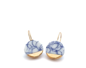 Delft Blue and white porcelain earrings in 18k solid gold ceramic blue white pottery jewelry gift