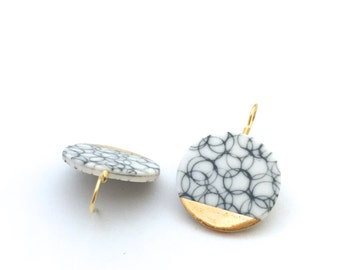 White Black Porcelain Earrings, gold dipped Round earrings, porcelain jewellery, one of a kind, ceramic earrings, by OeiCeramics