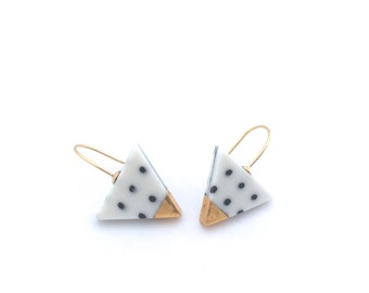 Memphis, Geometric Triangle earrings, Ceramic Jewelry, porcelain and gold earrings, Porcelain jewelry, Polkadot, minimalist jewellery