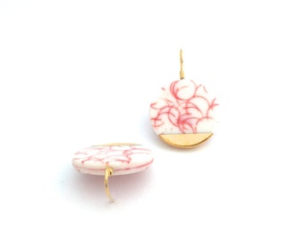 White red porcelain earrings, Ceramic circle Earrings, pastel earrings, gold dipped earrings, porcelain jewelry, statement jewelry