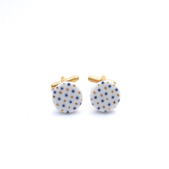 suit Gift for him Pottery cufflinks Delft Blue Porcelain Cuff Links Ceramics and clay