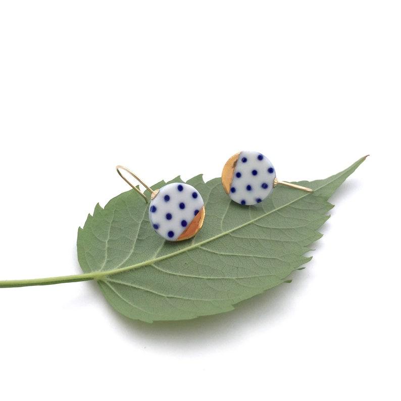 Blue and white Porcelain earring ceramic jewelry Polka dot image 0