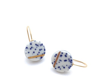 Celestial earrings, porcelain jewelry, Milky Way, kintsugi pottery, blue and white, ceramic and clay, Japanese pottery, sympathy gift