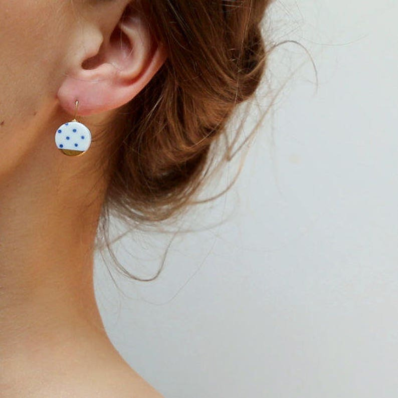 pottery and clay Polka dot Blue porcelain jewelry ceramic earrings