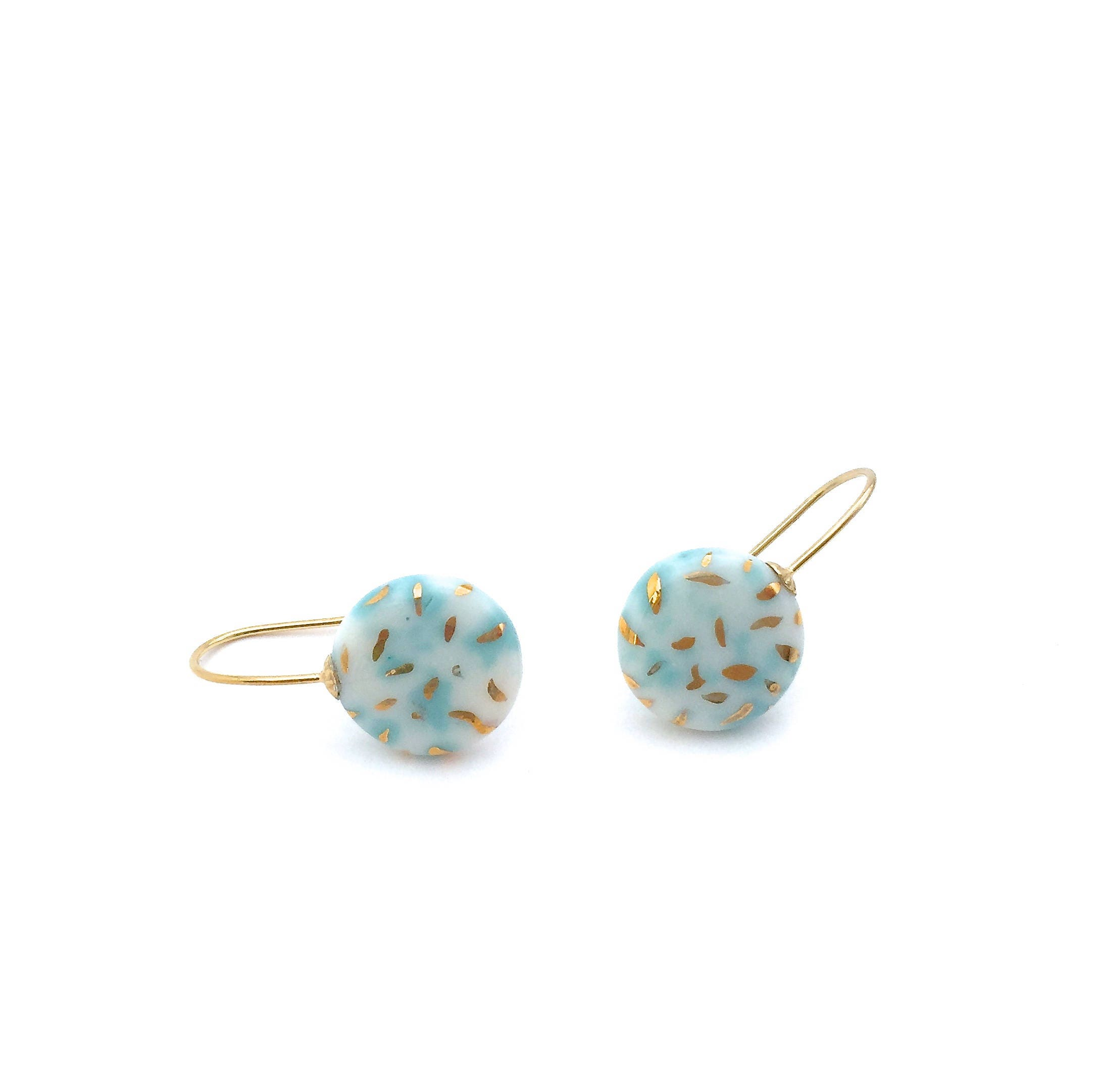 Mint Coloured Clay Ceramic Earrings 18k Solid Gold Porcelain Jewelry