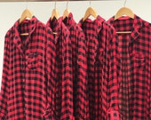 Buffalo Plaid Shirt, Holiday pajamas, Bridesmaid Sets, Christmas shirts, Red Plaid Shirt, Bride Tribe Shirts, Christmas Button Down