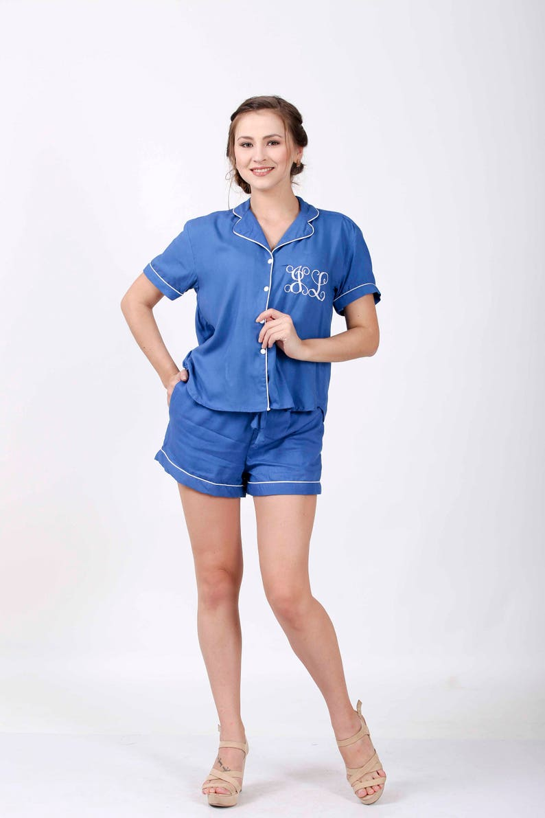cotton pajama set bridesmaids shirts maternity wear Fast Shipping bridesmaid gift Bridesmaid Pajama Set Royal Blue shirt and short set