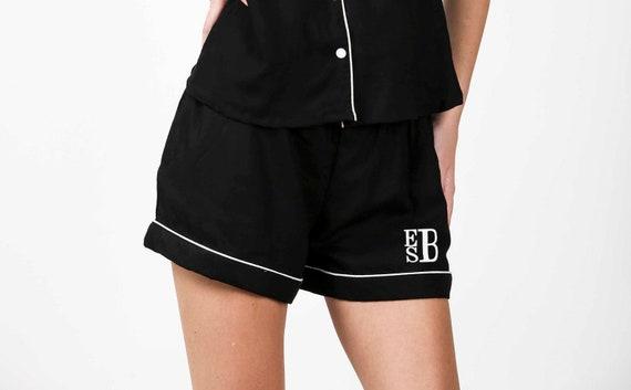 BLACK Shorts only Cotton Nightwear Shorts Sleepshirt shorts Women beach wear Loose Sleepwear Casual wear Lounge Cloth Boxers Monogram