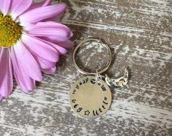 Dream Big Little One Hand Stamped Keychain Tag