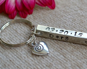 4 sided keychain-special names and dates