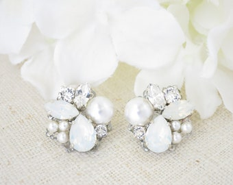 6d2464023 Opal cluster earrings White opal asymmetrical earrings Bridesmaid gift  Bridal earrings Unique stud earrings Swarovski wedding jewelry