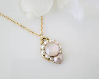 Wedding pendants etsy ivory cream bridal necklace blush wedding necklace simple swarovski crystal and pearl necklace dainty gold necklace bridesmaid necklace aloadofball Choice Image