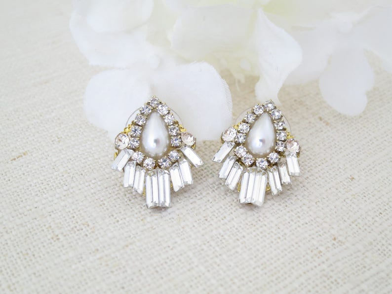 Art Deco earrings Baguette earrings Pearl teardrop earrings image 0