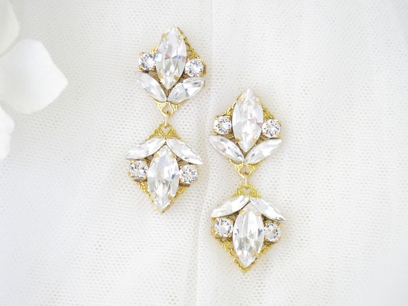 64cbcb8824198 Crystal chandelier earrings Gold bridal earrings Modern marquise earrings  Rhinestone jewelry Petite chandelier Swarovski drop earrings