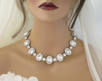 Statement wedding necklace Crystal collar Rhinestone choker Bridal necklace Wedding jewelry for brides Unique silver necklace