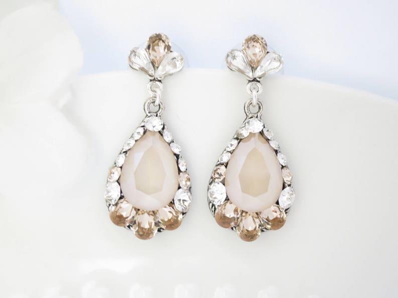 Teardrop bridal earrings Champagne wedding earrings Vintage image 0