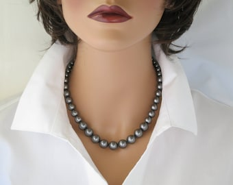 Grey pearl necklace Simple pearl jewelry Business casual Graduated dark gray pearl necklace Large crystal pearl Gift for women
