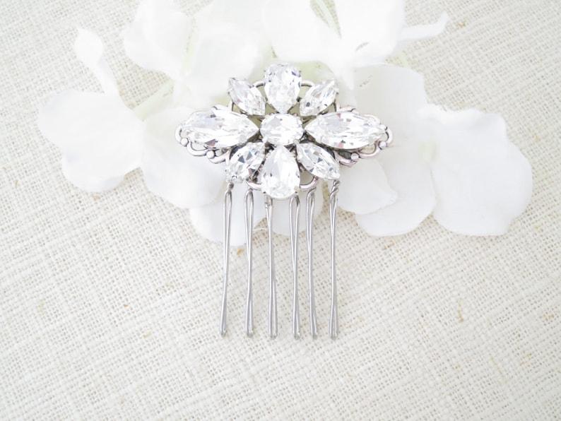 Swarovski crystal hair comb Petite wedding head piece Vintage image 0